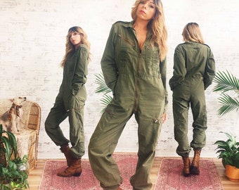 9847831e597 Vintage 1970 s Military JUMPSUIT