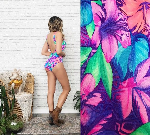 80's Tropical Neon One Piece Swimsuit - image 2