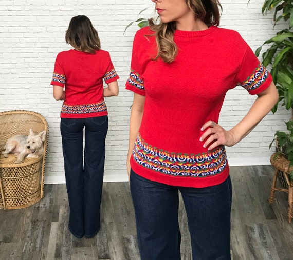 70's Red Knit Short Sleeve Sweater