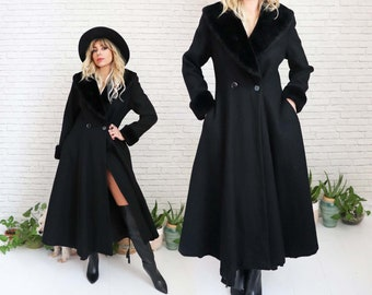 1980's Stevie Wool Coat    Small Size US 4 Long Black Victorian Princess Witchy Fit And Flare Flared Pockets Warm Winter Stevie Nicks Style