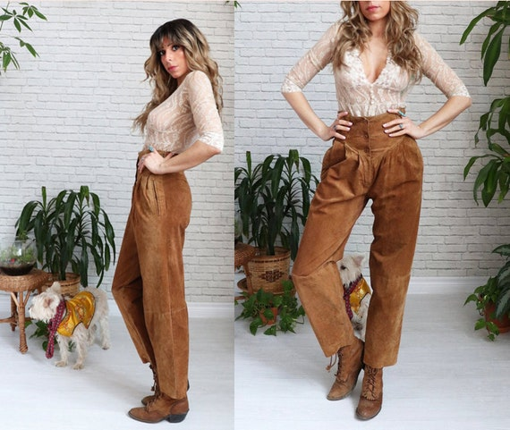 1980s Brown Suede Pants, High Waist Suede Pants, 8