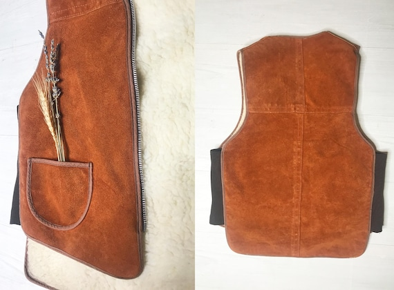 1960s Suede Shearling Vest || Medium Small || Hon… - image 7