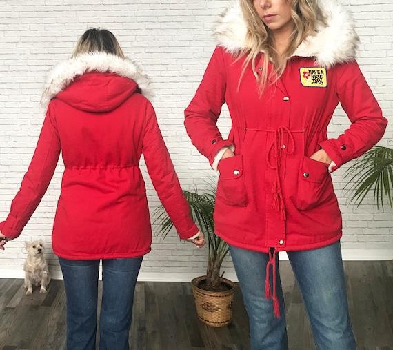 80s Red Hooded Parka, 1980s Eskimo Coat, Faux Fur