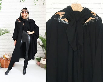 1980s Wool Cape Coat With Hood And Scarf || Black Wool Cloak || Leather Rhinestone Fur Details || One Size
