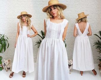 Vintage Cotton Prairie Dress, Medium Small, White Boho Sleeveless Open Back Eyelet Maxi, Button Up Bodice Ruffle Trim Minimalist Nightgown