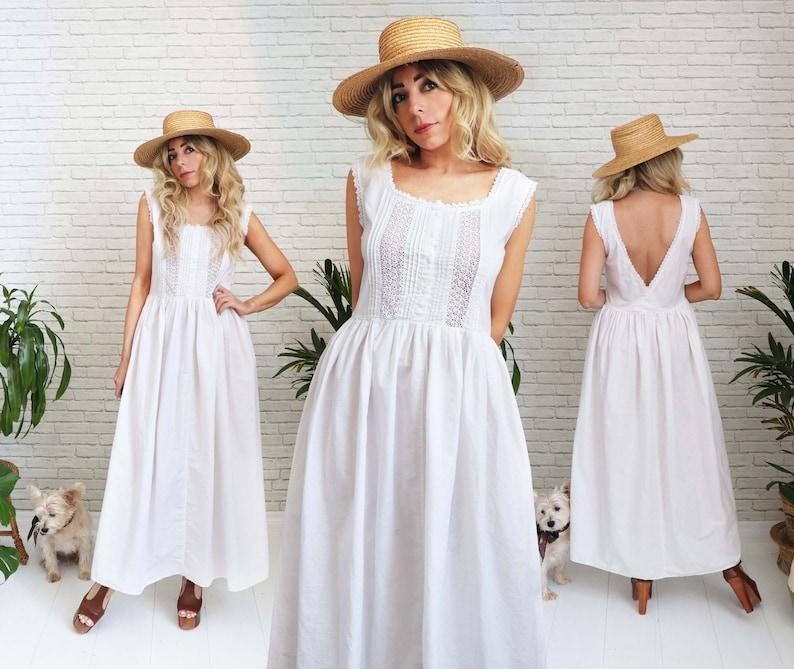 Vintage Cotton Prairie Dress Medium Small White Boho image 1