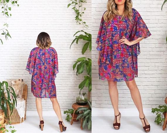 70's Paisley Cape Dress • Cape Collar Dress • Flor
