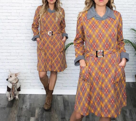 60's Plaid Shirt Dress