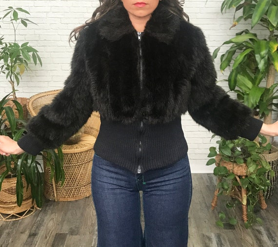 70's Glam Faux Fur Cropped Coat