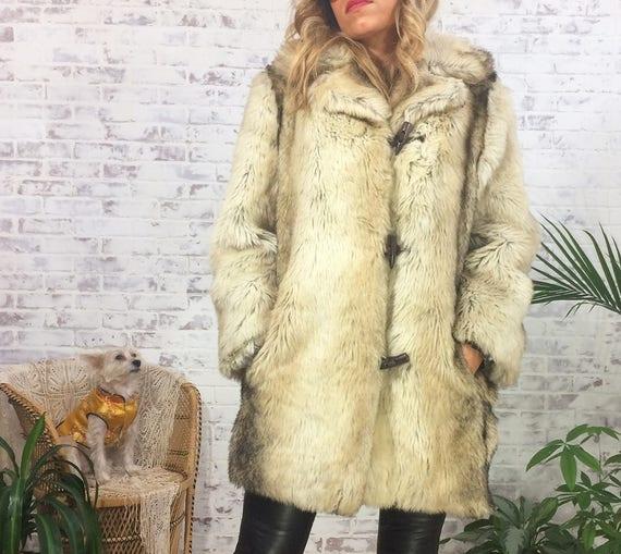 Vegan Medium FAUX Vintage Size Glam Fur Cream Small Size Coat MOCHA 1970's 3 4 To 6 qtxrpHtnOw