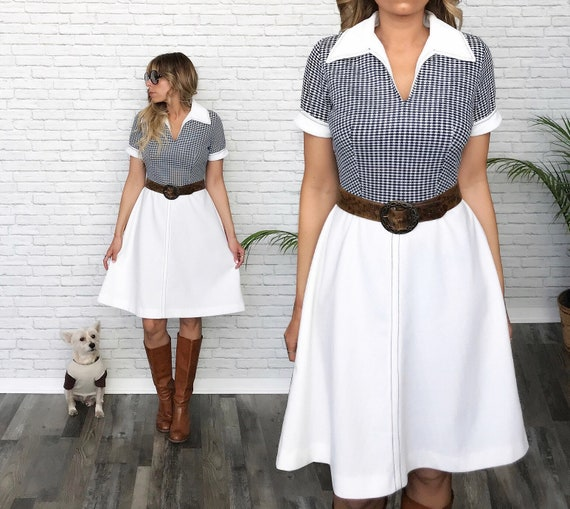 60's Navy Gingham Fit And Flare Dress