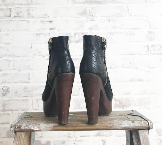 Vintage Platform Glam Boots, Black Platform Boots… - image 5