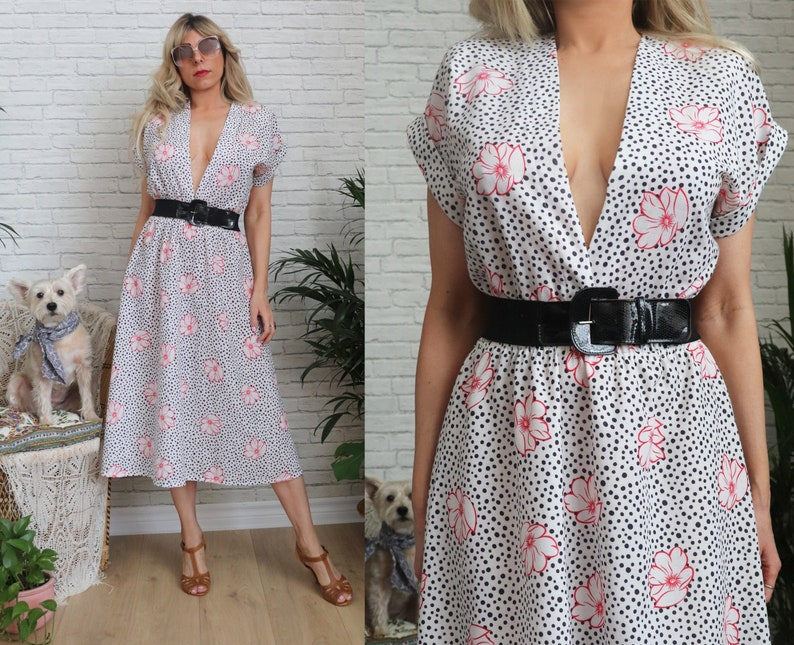 1970's Plunging Summer Dress Size Small To Medium Plunge image 0