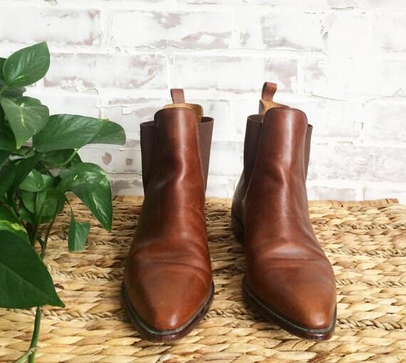 Vintage Shortie Chelsea cuir chaussons de COLE 5 9 selle glissez Cognac taille Western le Boots sur en HAAN Country Cowboy marron Mesdames 44ayZqwrO