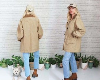 L.L. Bean Field Jacket | Large Size | Saddle Tan Brown Ladies Womens Barn Coat Relaxed Fit Workwear Outdoor Casual Button Down | Camo Chore