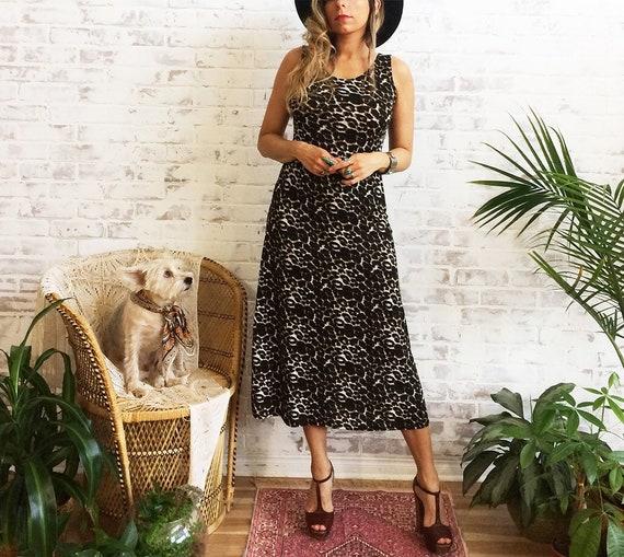 Vintage LEOPARD Print Gypsy Boho Midi Maxi Dress Size Small  1ed39781d