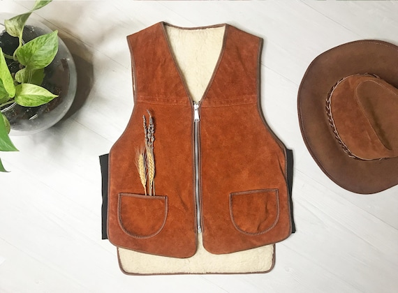 1960s Suede Shearling Vest || Medium Small || Hon… - image 6