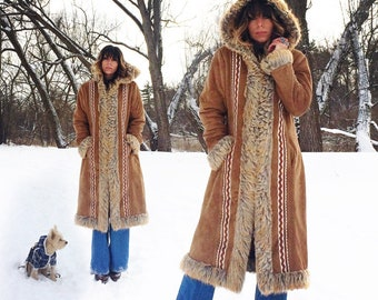 Vintage AFGHAN Coat, Medium Size Ladies, Penny Lane Maxi With Hood, Faux Fur Shearling Vegan Animal Friendly Winter Jacket, Embroidered