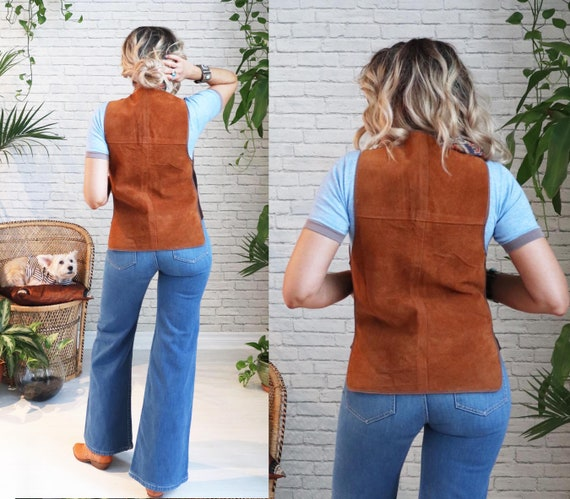 1960s Suede Shearling Vest || Medium Small || Hon… - image 2
