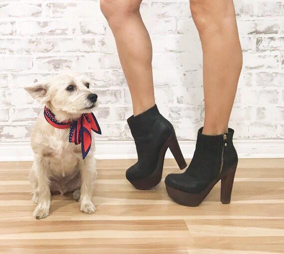 Vintage Platform Glam Boots, Black Platform Boots… - image 2