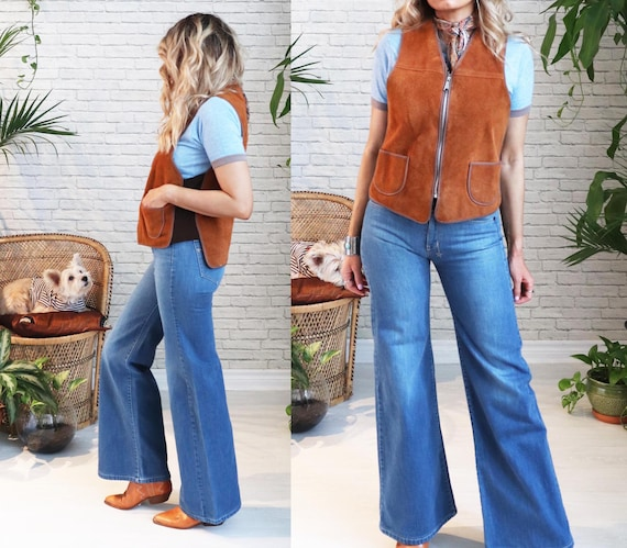 1960s Suede Shearling Vest || Medium Small || Hon… - image 4