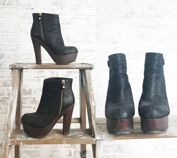Vintage Platform Glam Boots, Black Platform Boots… - image 4