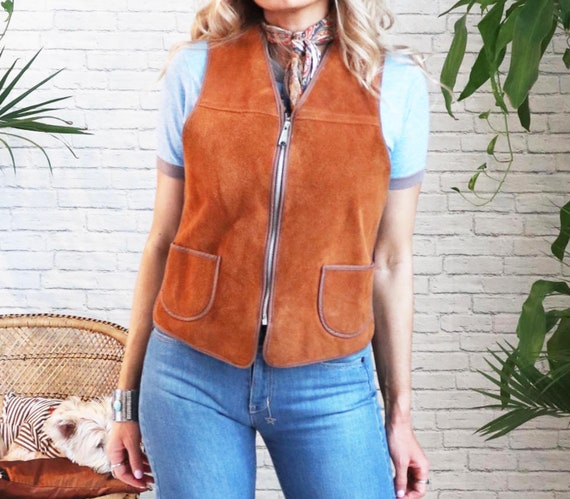 1960s Suede Shearling Vest || Medium Small || Hon… - image 5