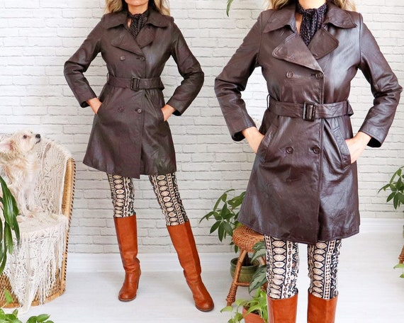 1970's Leather Trench Coat • Fitted Leather Coat •