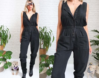 1980's Black Cotton Pantsuit, Small Size Ladies, Sleeveless Button Up Romper One Piece Onesie Minimalist Pantsuit Playsuit Jumpsuit