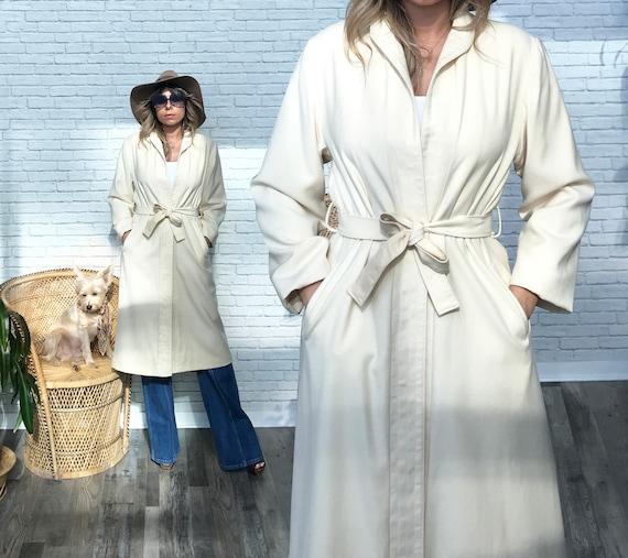 70s White Wool Coat, Designer Pierre Bouchard Coat