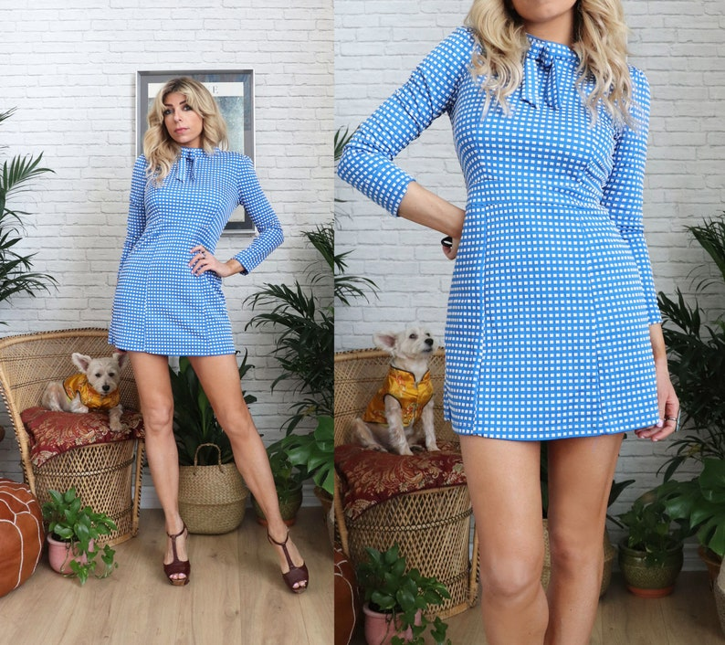 Vintage Polka Dot Mini Dress  XS Extra Small Size Cute Blue image 0
