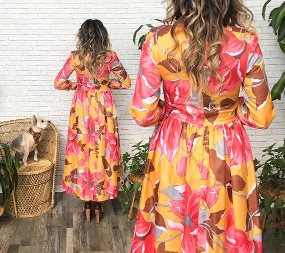 60's Coral And Marigold Maxi Dress - image 2