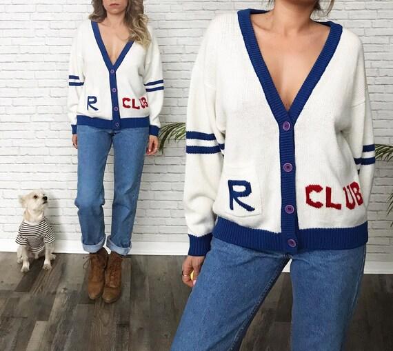 70's Varsity School Cardigan Sweater