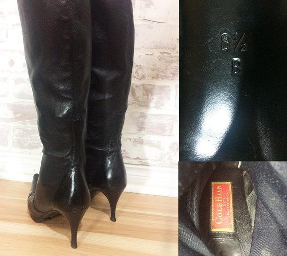 Taille Vintage Stiletto bottes tirette HAAN en noir Stretch cuir 8 COLE zxrzZqTnP