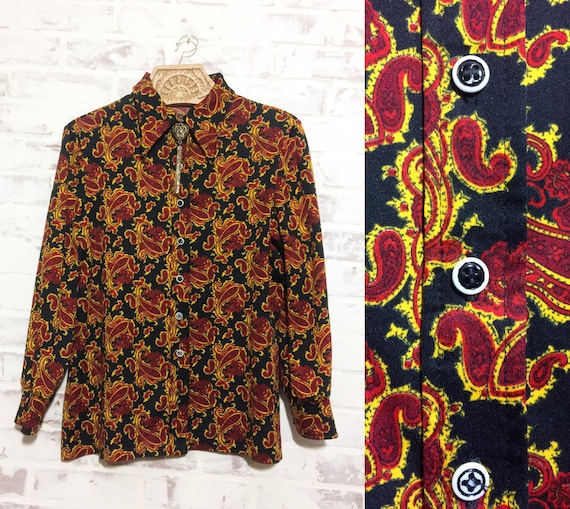 Garnet 70s Boho Size PAISLEY Medium Top Black Hippie Blouse And 60s Small Merigold Vintage IHawg