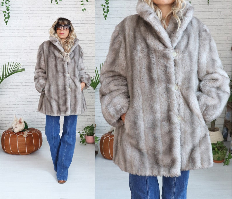 Vintage 1960s Faux Fox Fur Coat  Medium Small Size  Gray image 0