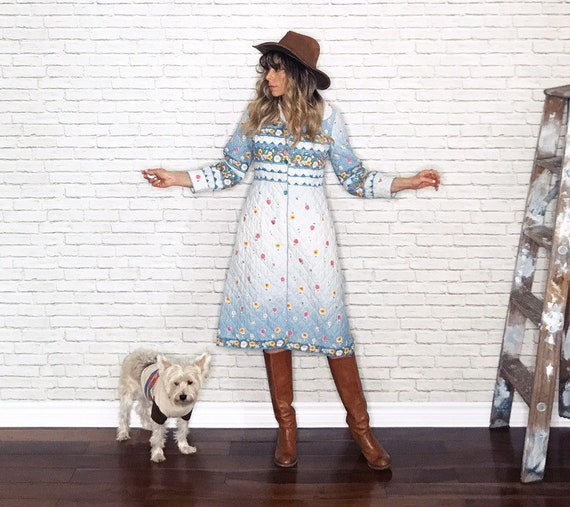 70's Quilted Prairie Dress • Italian Quilted House