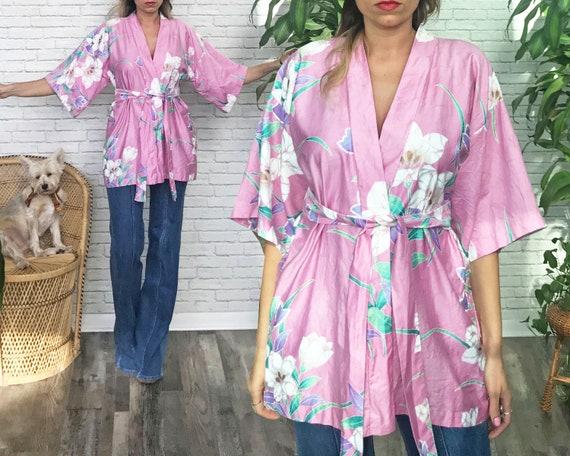 70's Pink Kimono Wrap • Boho Beach Kimono • Hawaii