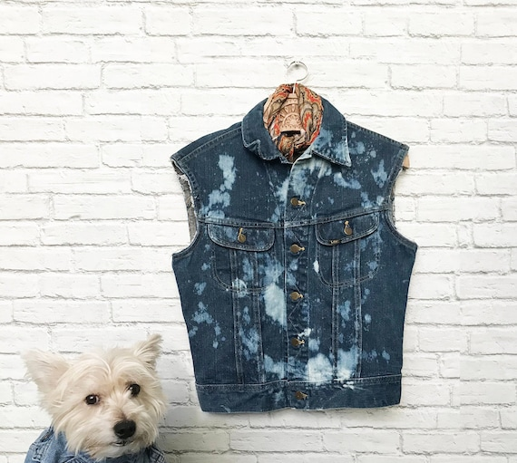 80s Denim Cut Off Vest, Lee Jeans Vest, Bleach Den