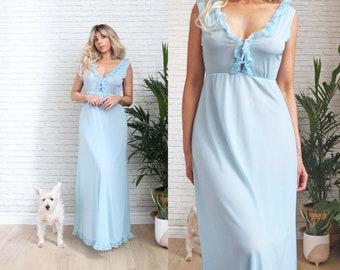 1970's Blue Plunging Slip Dress, Small Size Ladies, Dusty Pastel Low Neckline Open Back, Maxi Length Empire Waist, 70s Peignoir Gown, Nylon