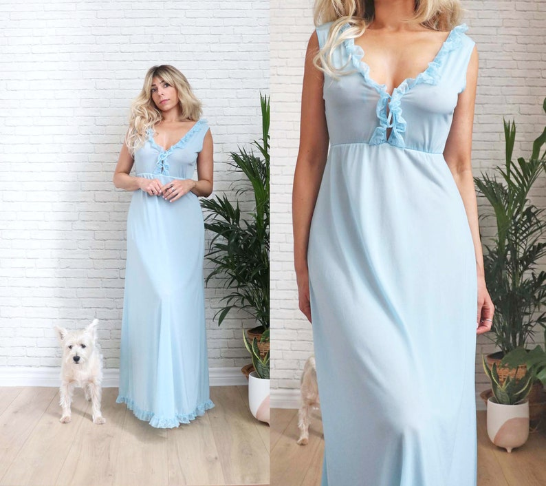 1970's Blue Plunging Slip Dress Small Size Ladies Dusty image 1
