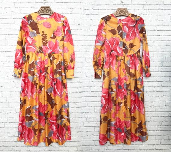 60's Coral And Marigold Maxi Dress - image 6