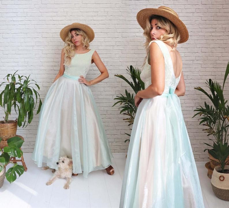 Vintage Dusty Sage Gown Fairy Dress Crushed Velvet Open Back image 1