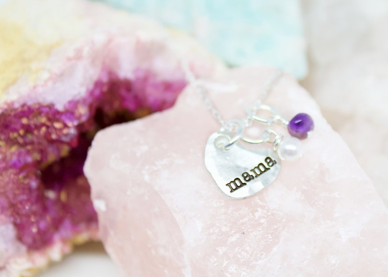 Mother/'s Personalized Charm Necklace  Name Jewelry  Mother/'s Day Gift  Birthstones  Sterling Silver  Artisan Pewter Charms  Organic