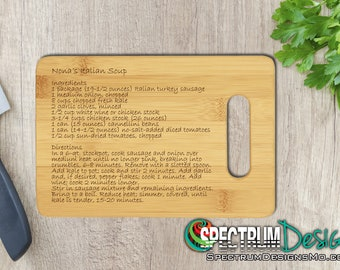 Custom Engraved Cutting Board - Handwritten Heirloom Recipe