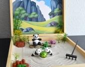 SHIPS MAY 3rd - Panda Zen Garden Box Lucky Bamboo Wellness Zen Gifts Meditation Decor Kit Back To School Teacher Gift Desk Accessories