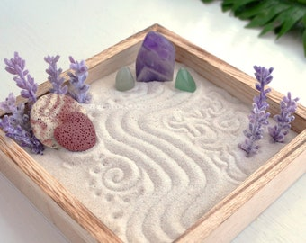 Amethyst Crystal Lavender Mini Zen Garden Aromatherapy Essential Oil Diffuser Home Decor Birthday Gifts Under 30 Dorm Desk Accessory For Her