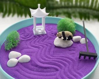 Home Office Zen Garden Decor // Minimalist Purple Desk Accessory Panda Gift for Her Pagoda Feng Shui Dorm Therapy Creativity Gifts Under 30