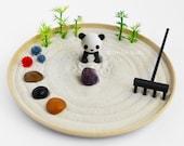 Panda Mini Zen Garden Lucky Bamboo Sand Garden Amethyst Gem Kawaii Animal DIY Kit Fidget Toy Cubicle Decor Coworker Gifts Under 30