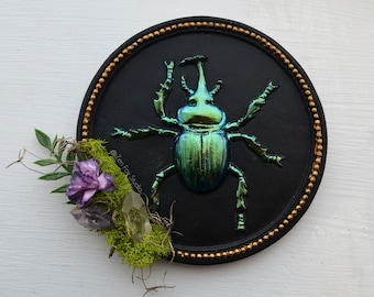 Mini Rhinoceros Beetle Wall Hanging Insect Art // Bug Home Decor Entomology Gifts Oddities Quartz Crystal Unique Office Plaque Color Shift